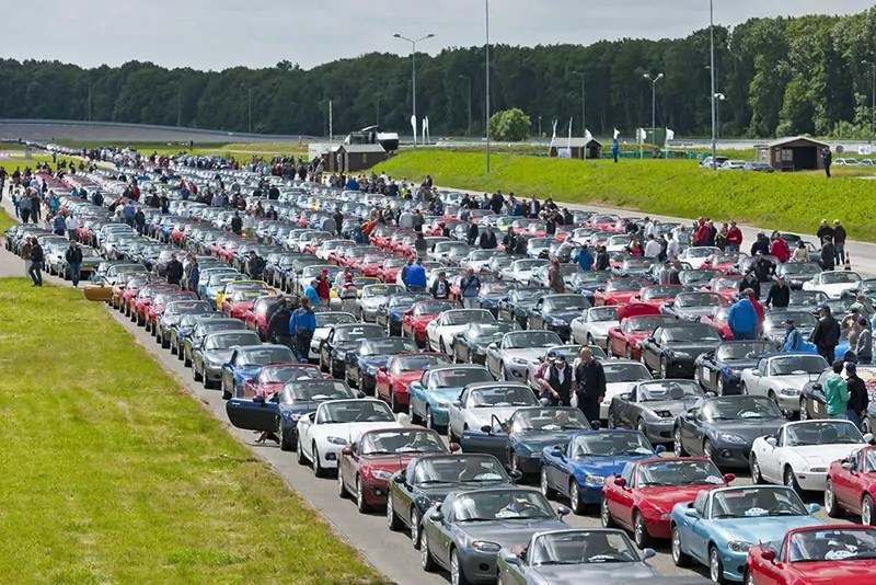 Traffic Jam of Mazda MX-5's in Lelystad