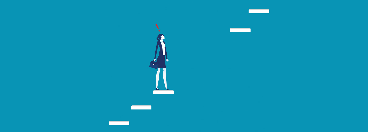 a business woman climbing stairs but the next step is missing