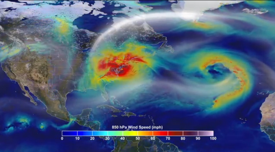 The uncharacteristic north-westerly path of Hurricane Sandy was influenced by a blocking ridge that developed from an unusual jet stream pattern. Source: NASA