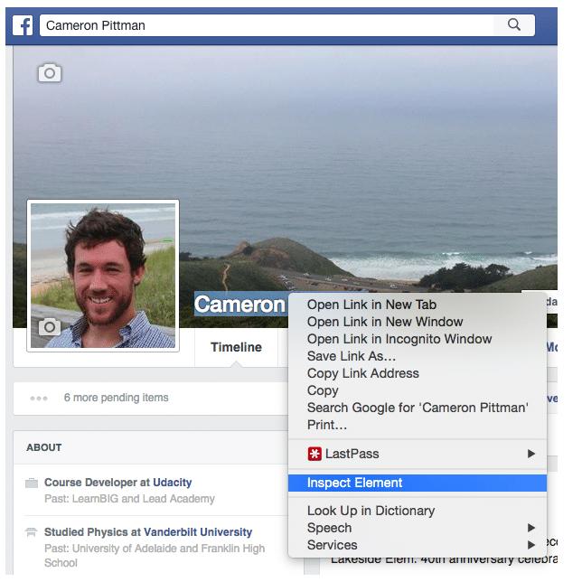 "Developer Tools: Facebook ""Hacking"" Tutorial   Udacity"