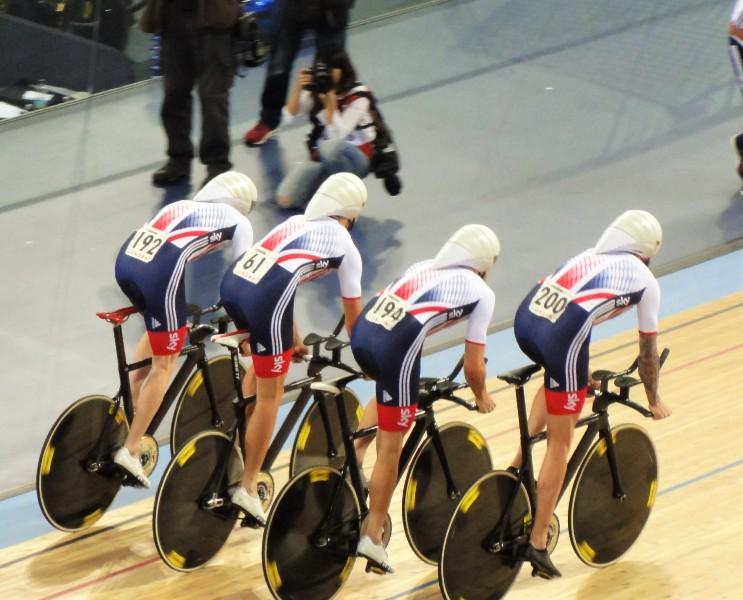 Der Bahn Vierer der Briten mit Wiggins