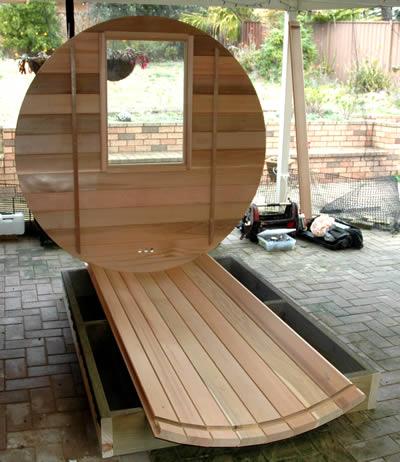 Barrel sauna back wall