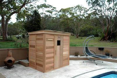 Assembled log sauna