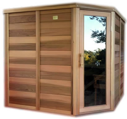 Side view of 2 x 2m log sauna