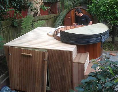 Custom made hot tub with stairs