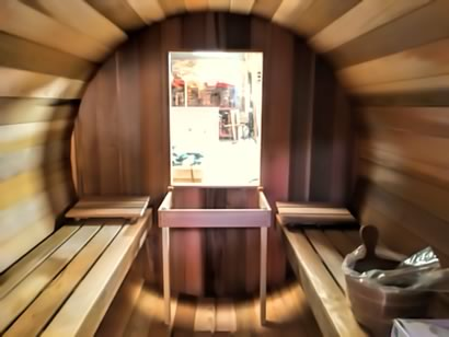 Barrel sauna inside