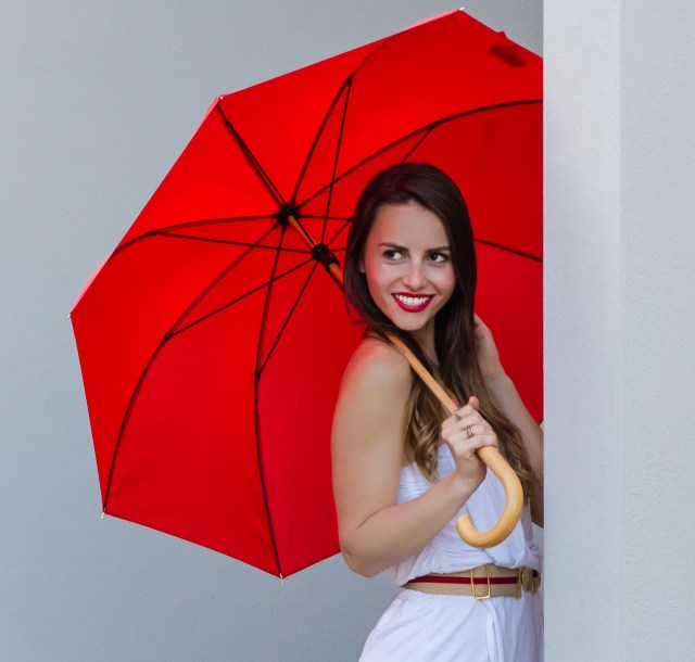 Travel Fashion Girl with Umbrella