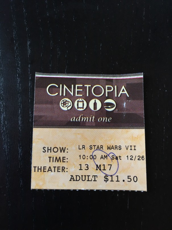 A movie ticket stub for the Vancouver Mall Cinetopia 10 am showing of Star Wars: The Force Awakens
