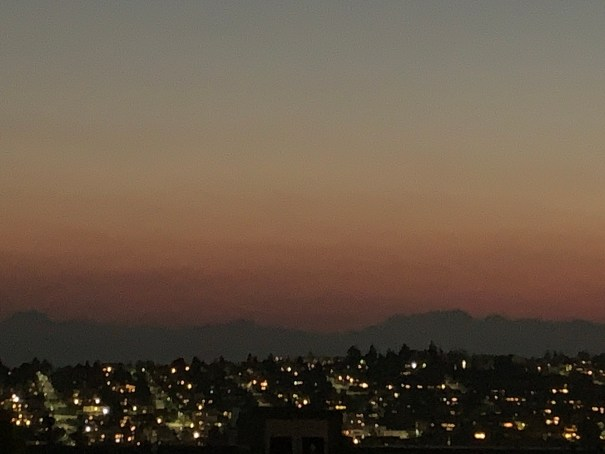 Twilight bands of Olympics over Magnolia