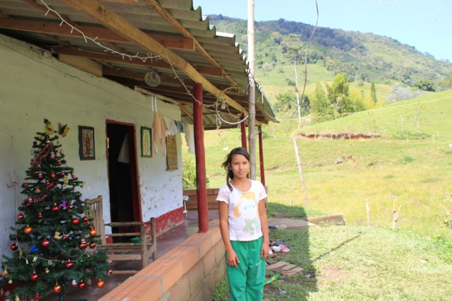 Elizabeth stands outside her home, decorated for Christmas, near Medellin, Colombia.