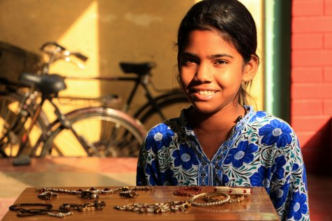 Ritu displays the jewelery she makes.