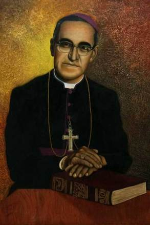A portrait of Archbishop Oscar Romero hangs in the Metropolitan Cathedral of the Holy Savior in San Salvador, El Salvador, where Romero is buried.