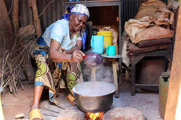Lucy makes Uji, a type of porridge common in Kenya.