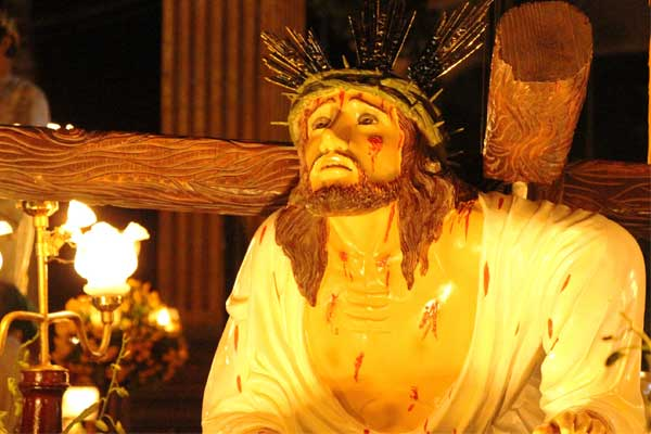 This statue is one of the many life-size depictions of Christ displayed in the annual Lenten procession in San Mateo, Philippines.