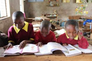 Sponsored children Elizabeth, Florence and Caroline from Nairobi, Kenya.