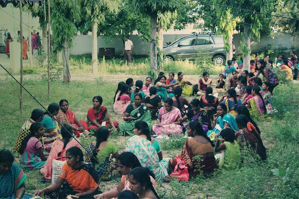"""Several smaller mothers groups come together in Warangal, India for """"Pratibhautsav,"""" a traditional celebration of light and splendor. This particular gathering was dedicated to the initiative of the women."""