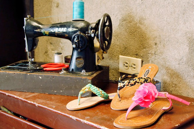 Sandals and a sewing machine.