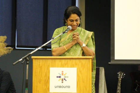 Saritha Mendanha, program coordinator in Hyderabad, India, presents at Unbound's Global Insight Series on March 29 in Kansas City.