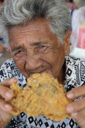 Salvacion enjoys fried chicken from Jolibee, a popular fast-food restaurant in the Philippines.