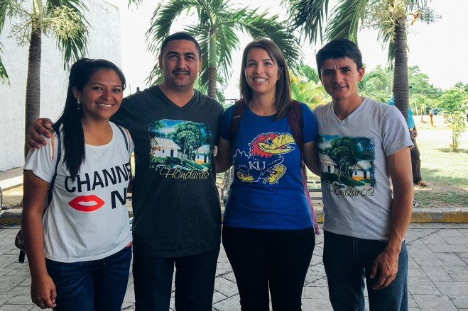 Joanna (second from right) with staff members Karen, Edwin and Mairon in Honduras.