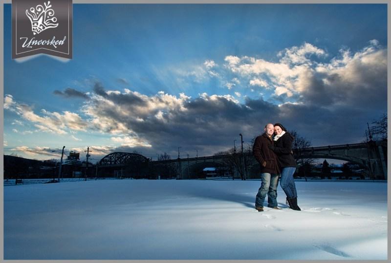 Wintertime snowy engagement session - blue skies and epic - © 2013 Uncorked Studios, LLC - Destination & Philadelphia Pennsylvania Wedding Photographer