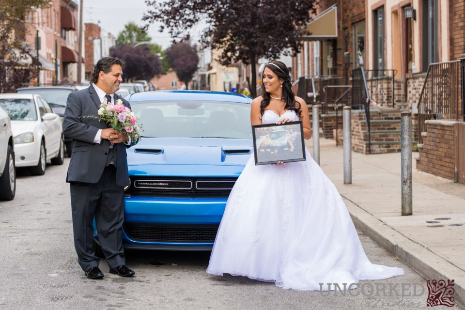 Sports car and bride