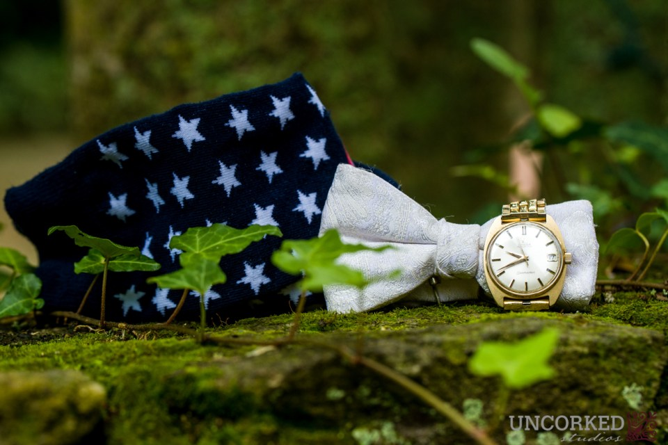 Marine groom wear's his Grandfather's old watch on his wedding day.
