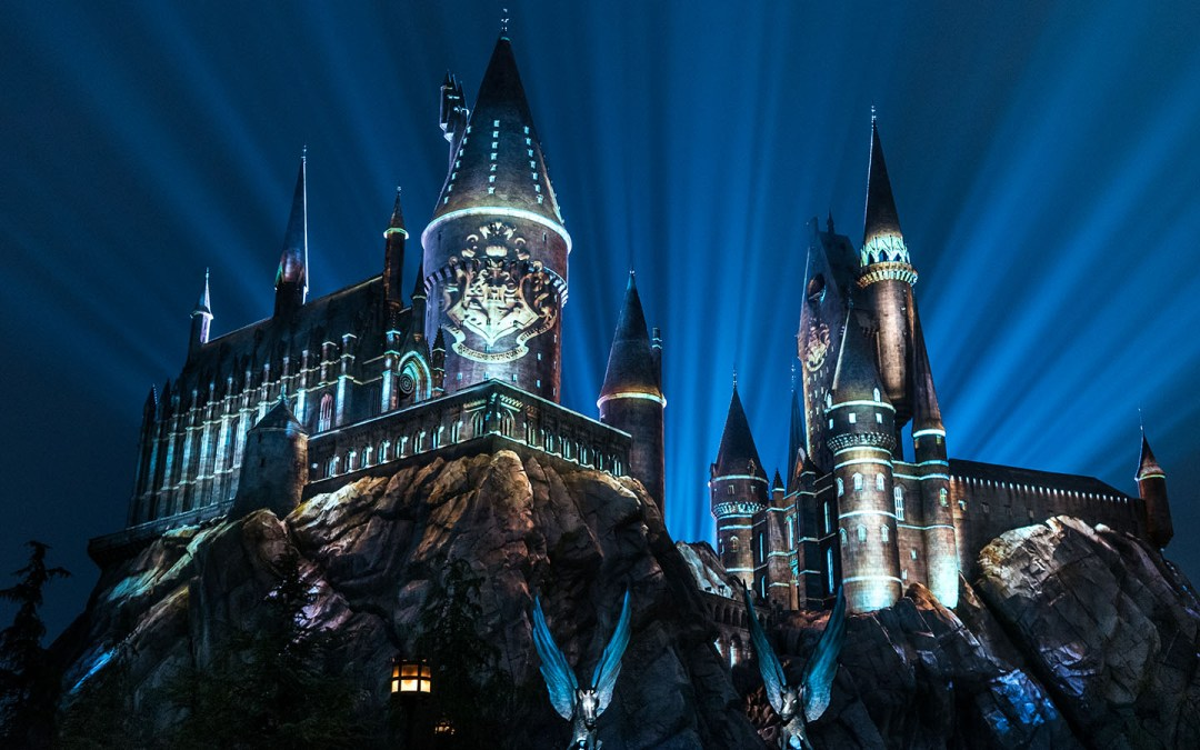 The Nighttime Lights at Hogwarts Castle in The Wizarding World of Harry Potter