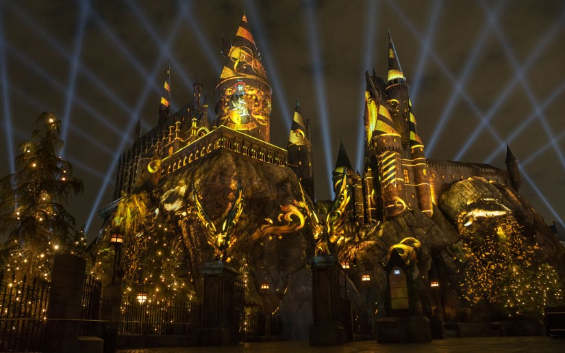 The Nighttime Lights at Hogwarts Castle - Hufflepuff