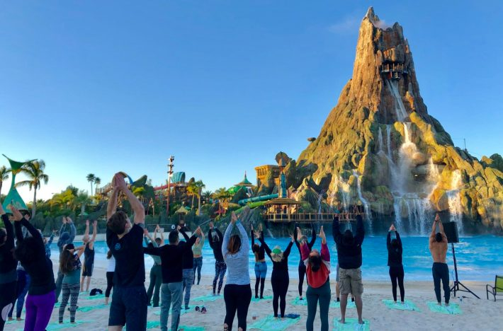 Local Yogis Participate in a One-Time Yoga Event at Universal's Volcano Bay