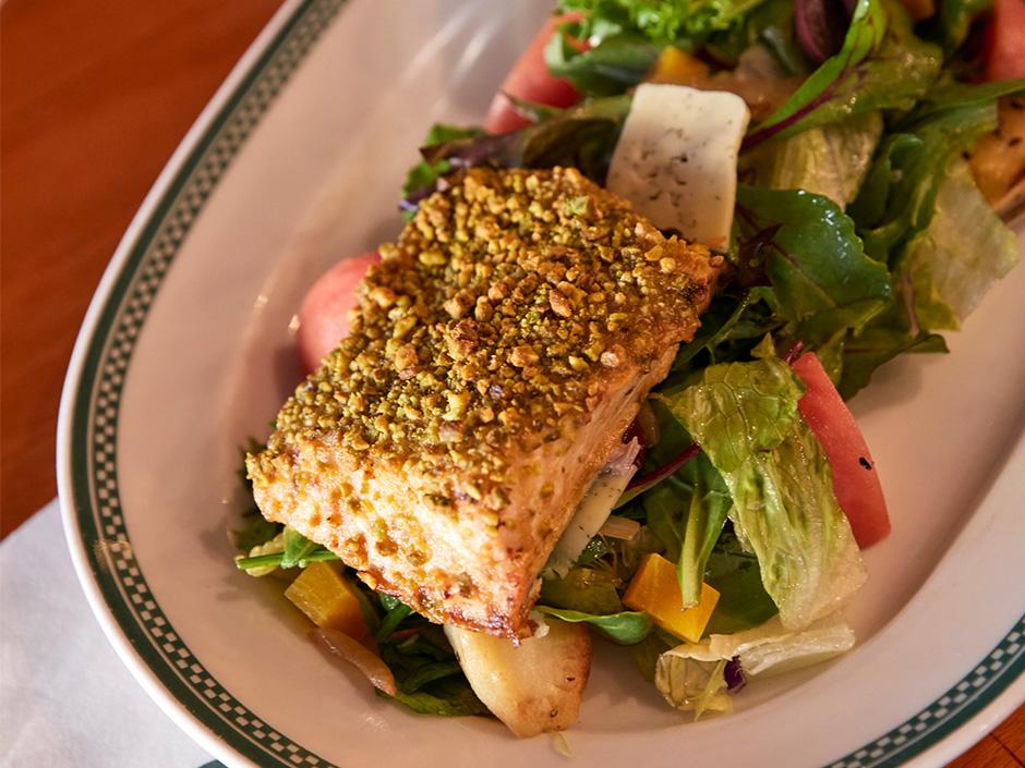 Finnegans-Bar-Grill-Pistachio-Crusted-Salmon-Salad