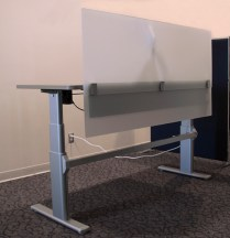 Height Adjustable Desk with Privacy Screen