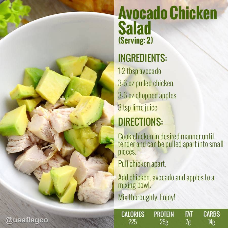 This outrageous Avocado Chicken Salad Recipe by USA Flag Co. is so delicious and the price is reasonable compare to a restaurant Avocado dish. You are what you eat!