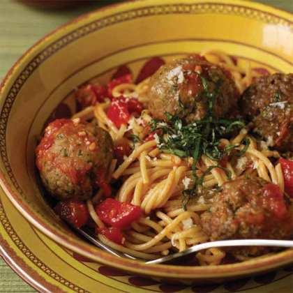 Turkey and Beef Meatballs with Whole Wheat Spaghetti Recipe
