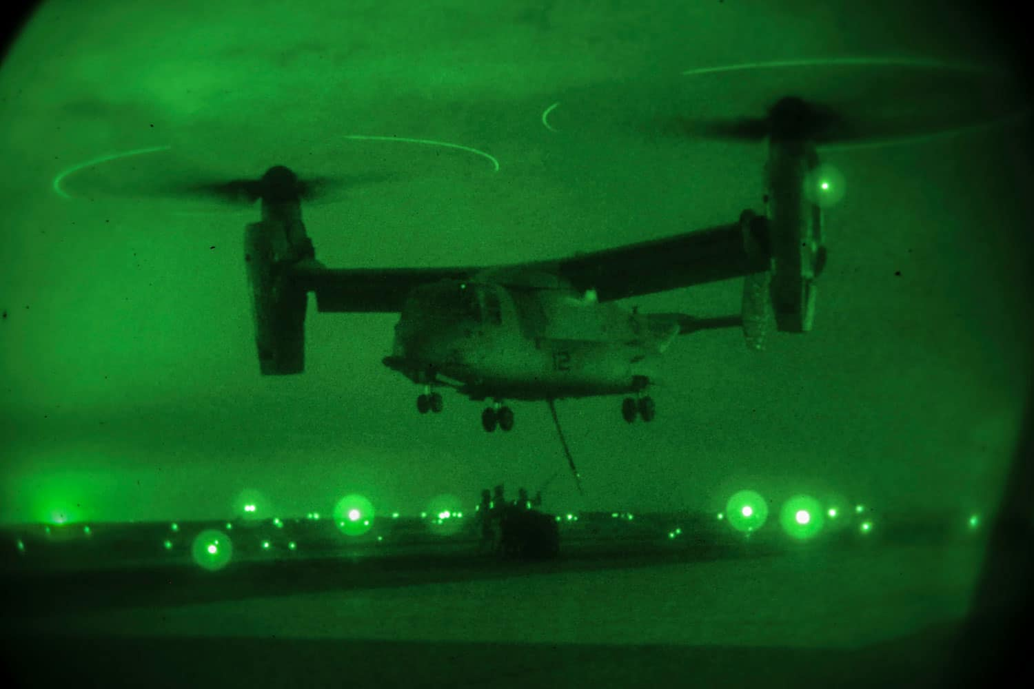 U.S. Marines with Combat Logistics Battalion 7, Special Purpose Marine Air-Ground Task Force-Crisis Response-Central Command, conduct a helicopter support team training operation with Marine Medium Tiltrotor Squadron 165 while forward deployed in the Middle East, March 10, 2017.
