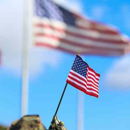 A Miniature Statue of Marines Raising National Flag