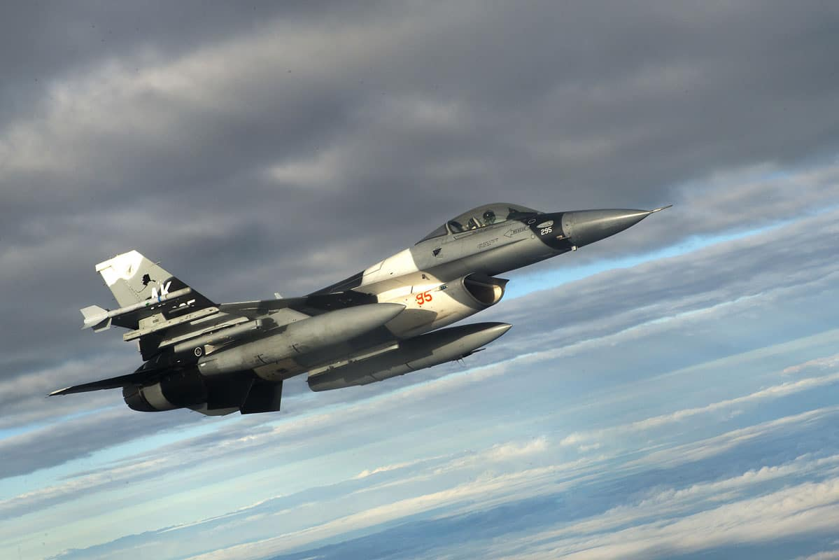 A U.S. Air Force F-16 Fighting Falcon from the 18th Aggressor Squadron at Eielson Air Force Base, Alaska, flies in support of Forceful Tiger, near Okinawa, Japan. The 18th AGRS, which opened Aug. 24, 2007, provides challenging, yet realistic threat replication training in order to prepare Air Force, joint and allied aircrews for potential aerial combat.