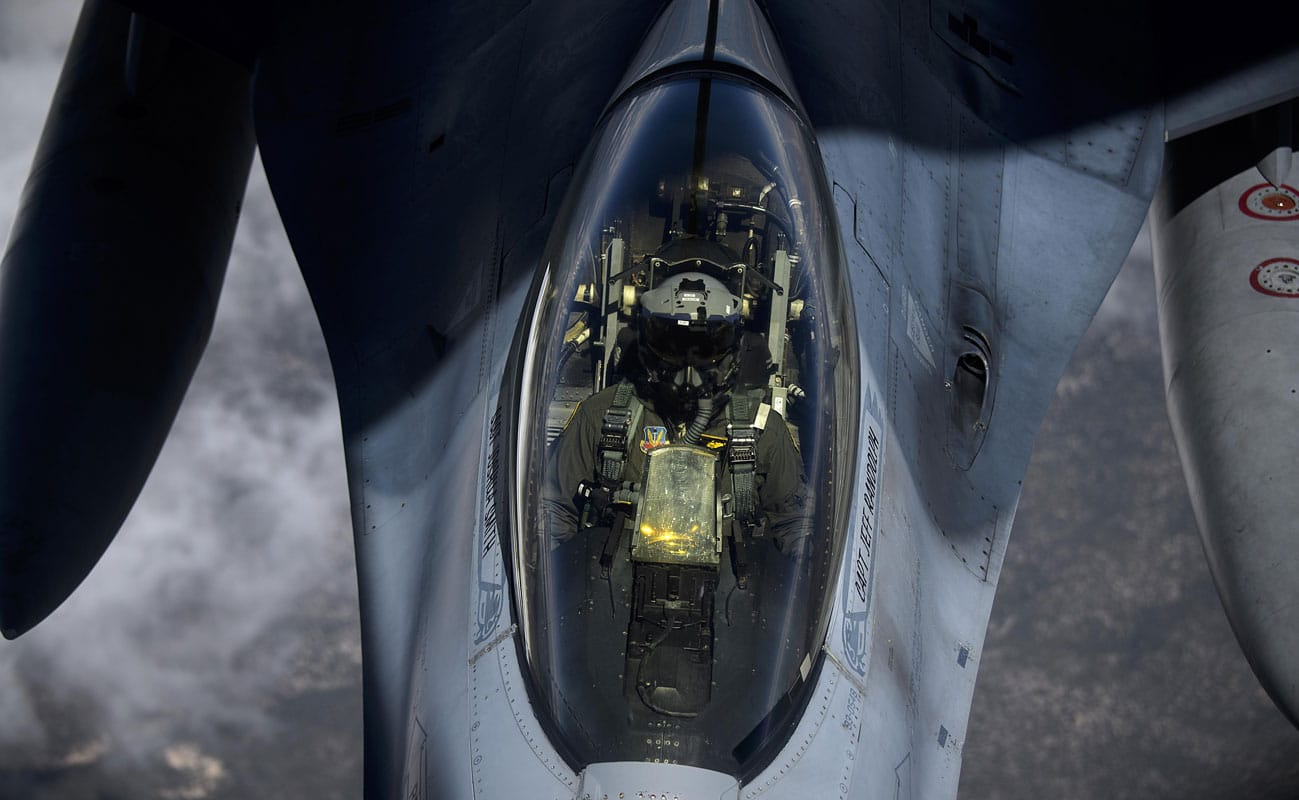 An F-16 Fighting Falcon from Joint Base Langley-Eustis, Va., receives fuel from a KC-135 Stratotanker, while taking part in exercise Red Flag 16-3 at Nellis Air Force Base, Nevada. Red Flag 16-3 is one of four Red Flag exercises at Nellis AFB, with this iteration focusing on multi-domain operations in air, space and cyberspace.