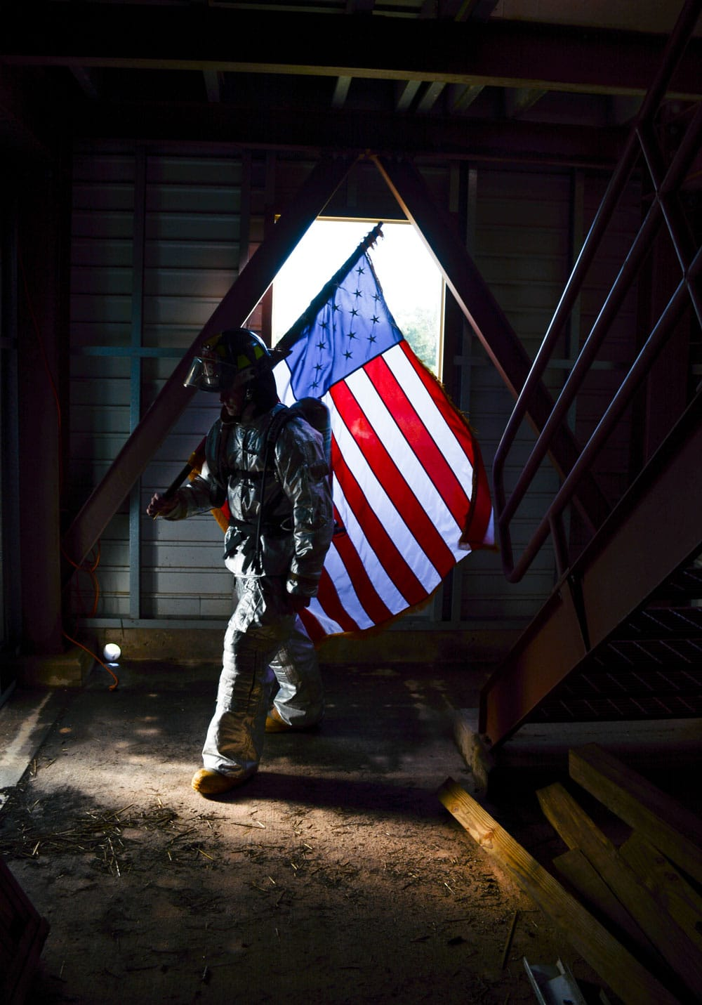 US flag during the 5th Annual Fire Climb Sept. 7, at the fire training tower at Tinker Air Force Base, Oklahoma.