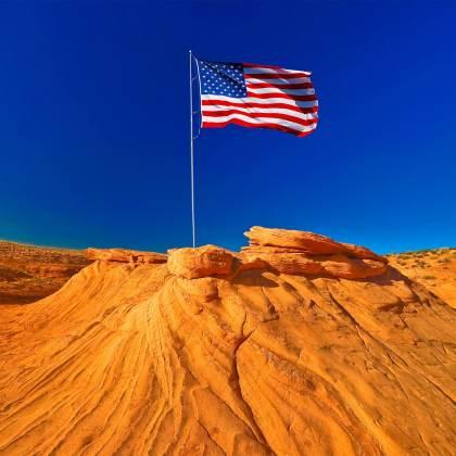 USA Desert Landscape with American Flag