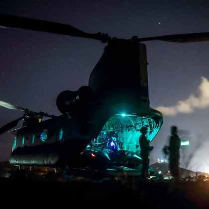 Reconnaissance Marines prepare to conduct night time helo-casting training operations during the Reconnaissance Team Leader Course at Marine Corps Base Hawaii, April 24, 2017. The purpose of the Reconnaissance Team Leader Course is to provide the students with the required knowledge and skills needed to perform the duties of a Reconnaissance Team Leader.