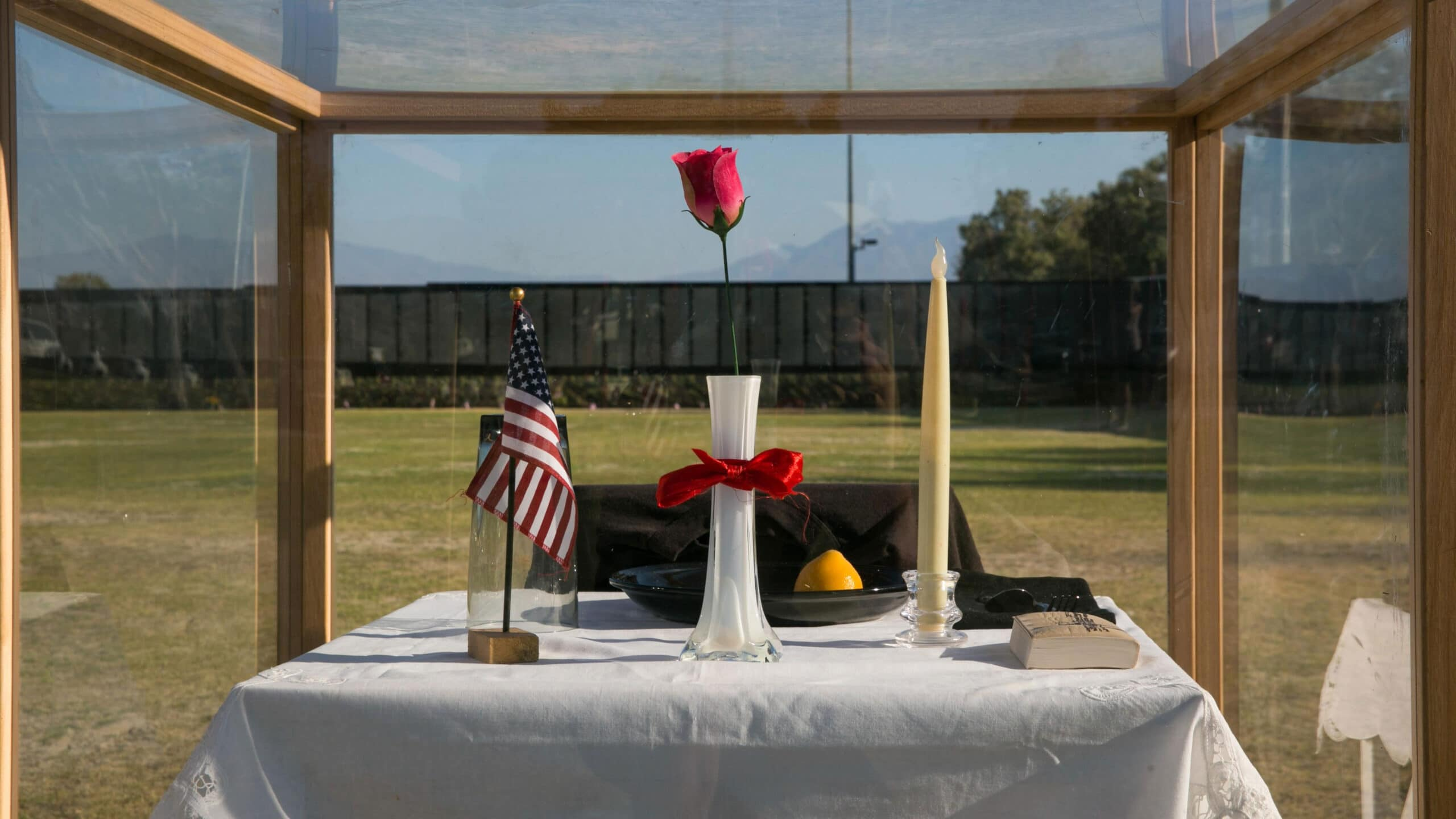 The Prisoner of War/Missing in Action table represents the service members who never had a chance to make it home or could not be found at the opening program of the Moving Vietnam Veterans Memorial Wall at Mission Springs Park in Desert Hot Springs, California.