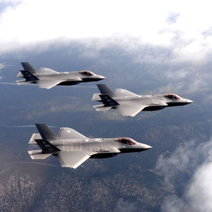 F-35 Lighting II fighter jets, assigned to the 6th Weapons Squadron, at Nellis Air Force Base, NV., fly over the Nevada Test and Training Range. The United States Air Force Weapons School teaches graduate-level instructor courses that provide the world's most advanced training in weapons and tactics employment to officers of the combat air forces and mobility air forces.