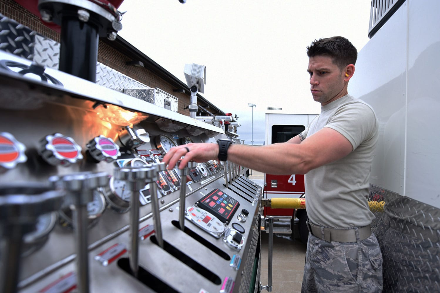 U.S. Air Force Airman 1st Class Nicholas Sands, 19th Civil Engineer Squadron Fire Department firefighter, ensures all firetruck components are operational, at Little Rock Air Force Base, Ark. Little Rock AFB firefighters perform weekly inspection checks on all equipment and vehicles to ensure they are fully operable.