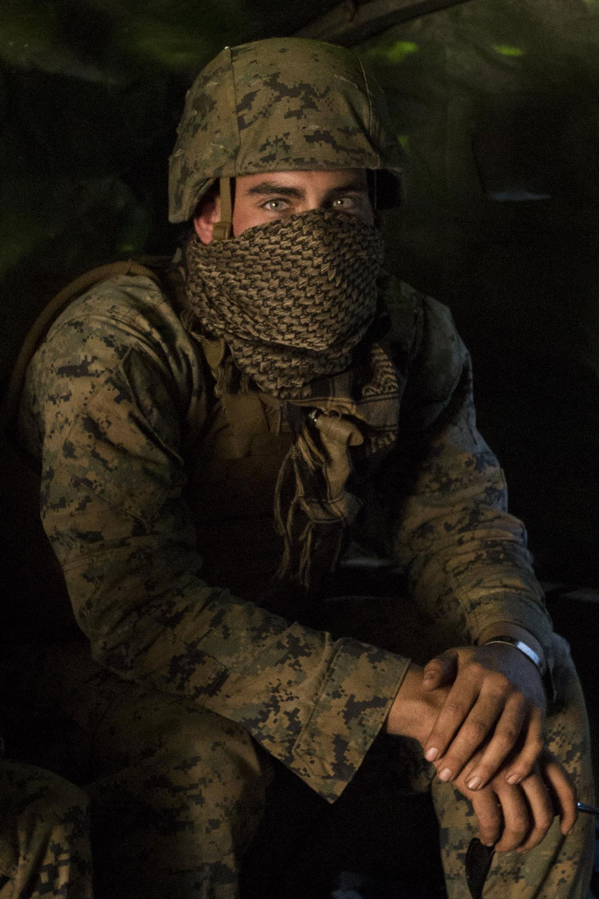 Lance Cpl. Michael Ruiz, a mechanic with Combat Logistics Battalion 31, sits inside a 7-ton truck before small-arms and machine gun marksmanship training on Townshend Island, Shoalwater Bay Training Area, Queensland, Australia, during Exercise Talisman Saber 17.