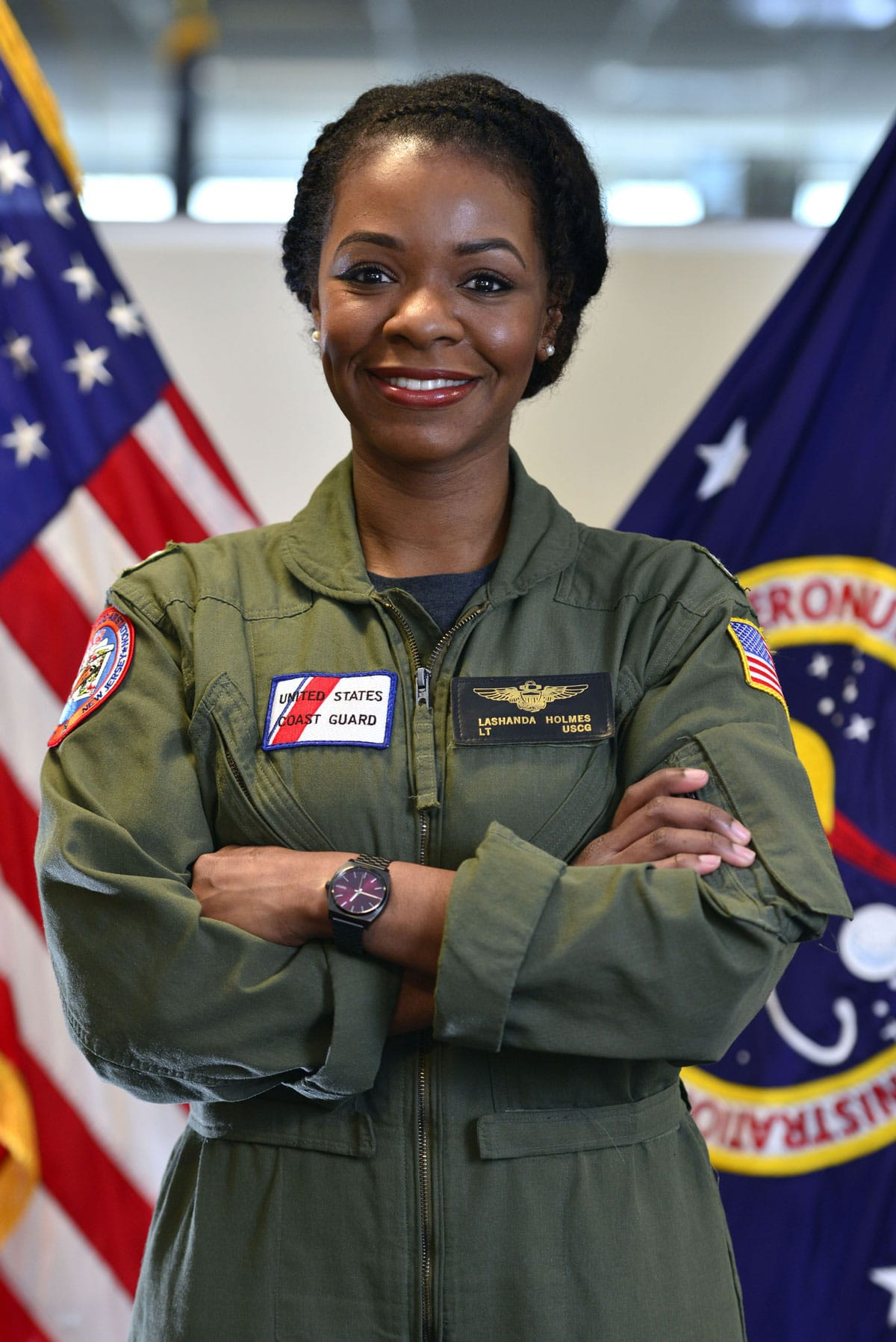 Lt. La'Shanda Holmes, the Coast Guard's first African American female helicopter pilot, and current White House Fellow (assigned to NASA).