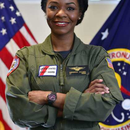 Lt. La'Shanda Holmes, the Coast Guard's first African American female helicopter pilot, and current White House Fellow (assigned to NASA). U.S. Coast Guard photo by Petty Officer 2nd Class Connie Terrell.