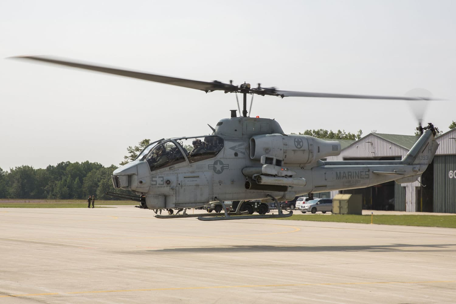 A U.S. Marine Corps AH-1W Super Cobra from Marine Light Attack Helicopter Squadron 269 takes flight during Northern Strike on Combat Readiness Training Center Alpena, Mich.