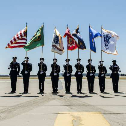 The Fairchild Air Force Base Honor Guard presents opening colors at Skyfest 2017 Air Show and Open House at Fairchild Air Force Base, Washington. Fairchild's honor guardsmen perform numerous types of ceremonies, to include two-man and six-man flag folding sequences, colors presentation, colors posting and marching in parades.