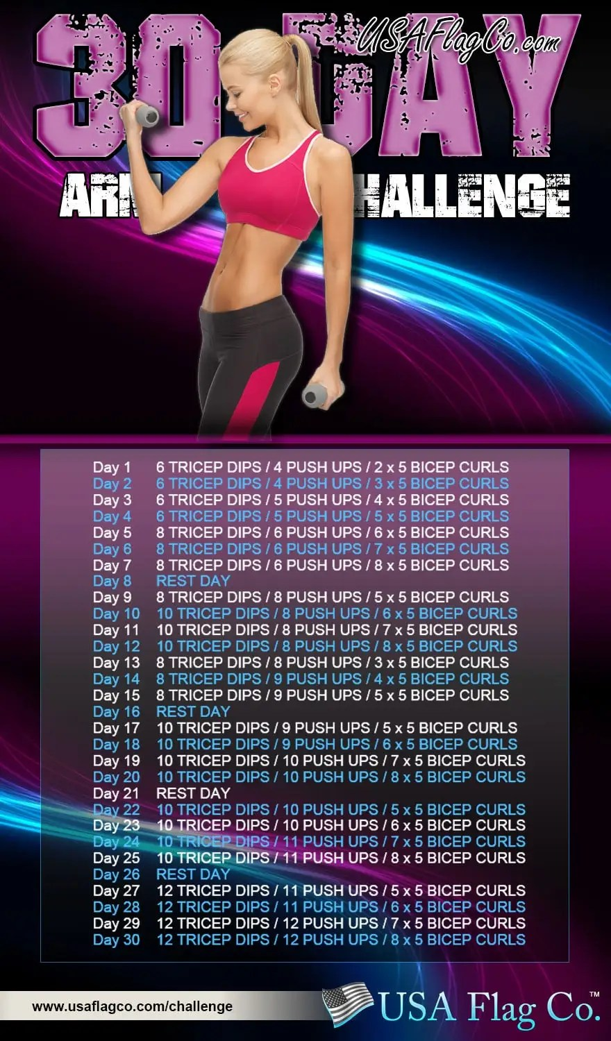 30-Day Arm Challenge from USA Flag Co. | Bicep & Tricep Blaster - Three different groups of exercises make up the 30-day arm challenge workout. Each exercise targets the biceps and two exercises that targets the triceps.